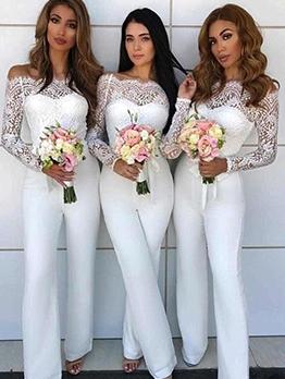 Elegant White Lace Stitching Off The Shoulder Jumpsuit