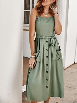 Summer Solid Tie-Wrap Sleeveless Sundress For Women