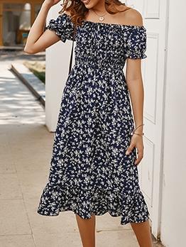 Off Shoulder Floral Short Sleeve Midi Dress For Vacation