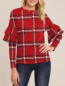 Solid Printed Ruffled Long Sleeve Shirts