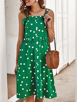 Single-Breasted Polka Dots Sleeveless Short Dress