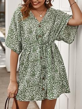 Summer V Neck Short Sleeve Floral Dress
