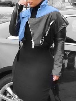 Cool Patchwork Contrast Color Short Coat