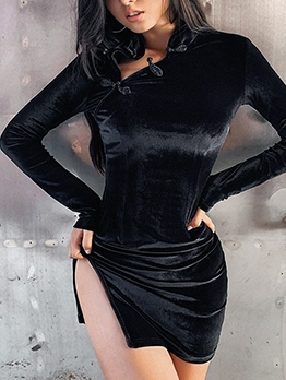 Stand Neck Fitted Black Long Sleeve Velvet Dress
