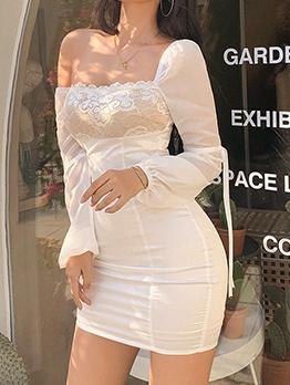 Square Neck Lace Panel White Long Sleeve Dress