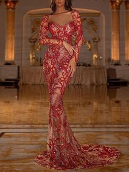 Low-Cut Floor Length Red Sequin Evening Dress