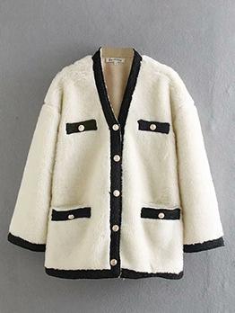 Boutique Single-Breasted Contrast Color Faux Fur Coat