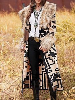 Plush Collar Geometric Pattern Winter Long Coats