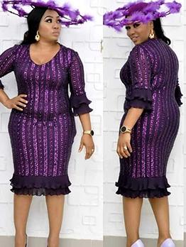 Chiffon Patchwork Long Sleeve Sequin Plus Size Dress