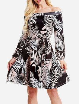 Autumn Boat Neck Leaves Print Tie-Wrap A-Line Dress