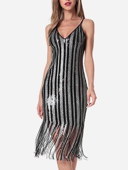 Fashion V Neck Tassel Hem Sleeveless Sequin Dress