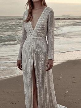 Deep V Neck High Split Hem Sequin Silver Formal Dress
