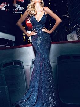 Deep V Neck Backless Sequin Long Evening Dress