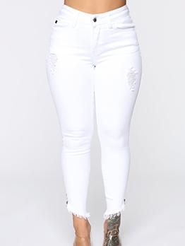 Ripped Zipper Tassel Hem White Jeans