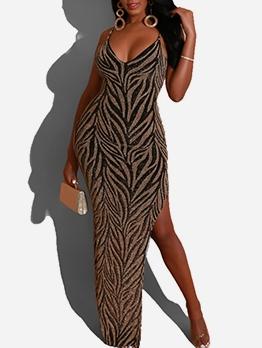 Low-Cut Glitter Sleeveless Sexy Maxi Dress