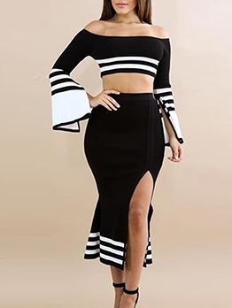 Contrast Color Off Shoulder Crop Top And Skirt Set