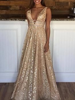Deep v Backless Print Sexy Evening Dresses