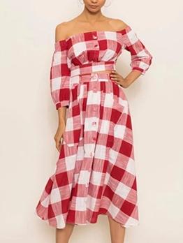 Plaid Crop Top And High Waisted Skirt Set
