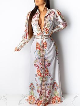 Turndown Neck Printed Long Sleeve Maxi Dress