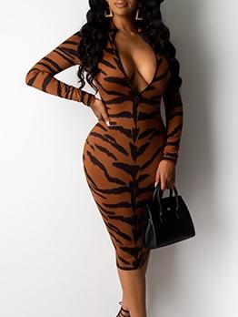 Animal Print V Neck Long Sleeve Bodycon Dress