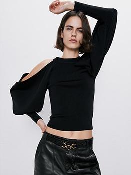 Cold Shoulder Knit Black Sweater
