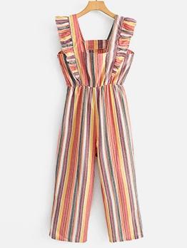 Striped Ruffled Hem Sleeveless Jumpsuit