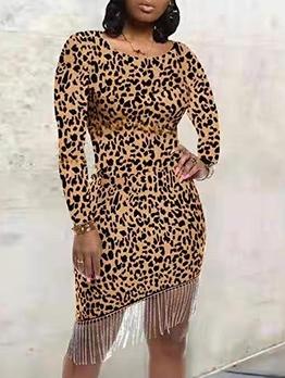 Night Club Leopard Tassels Patchwork Ladies Dress