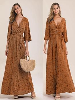 Casual v Neck Long Sleeve Maxi Dress