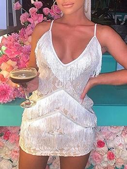 Lace Tassels Patchwork Slip Sexy Dress