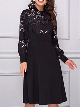 Bowknot Tie Neck Patchwork Dresses For Women