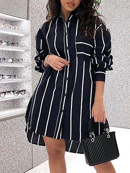 Single Breasted Back Letter Stripes Long Shirt