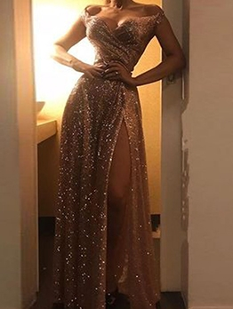 High Split Hem Off The Shoulder Golden Evening Dress