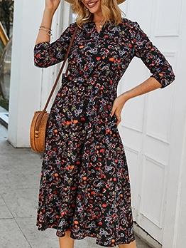 Vintage Midi Long Sleeve Floral Dress