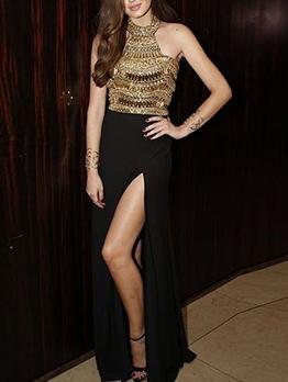 Split Hem Sequin Sleeveless Long Formal Dresses