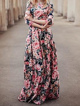 Bohemian Botanic Print Long Sleeve Maxi Dress