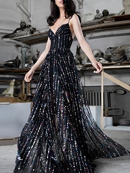 Elegant Colorful Gauze Large Hem Evening Dresses For Women