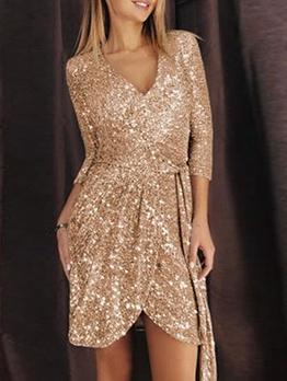 Hot Sale Tie-Wrap Golden Long Sleeve Sequin Dress