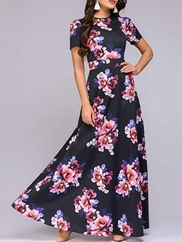 Bohemian Flower Pattern Beach Maxi Dress