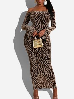 Sexy Backless Glitter Flare Sleeve Maxi Dress