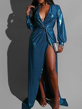 Sexy Deep V Neck High Split Hem Blue Maxi Dress