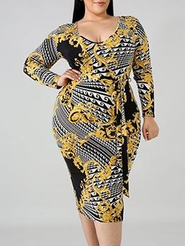 Low-Cut Tie-Wrap Print Plus Size Long Sleeve Dress