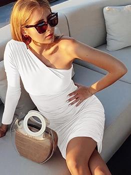 One Shoulder Draped Long Sleeve Bodycon Dress