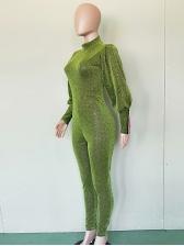 Pure Color Lantern Sleeve Green Jumpsuit