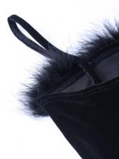 Sexy Fur Decor Sleeveless Black Dress
