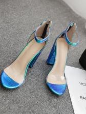 Hologram Snake Embossed Transparent Strap Heels