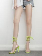 Solid Transparent Buckle Strap Lace Up Sandals