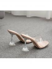 Clear Heel PVC Slip On Womens Slippers