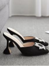 Sun Flower Metal Splicing Slipper Shoes