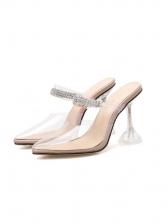 Closed Toe Transparent Rhinestone Heels