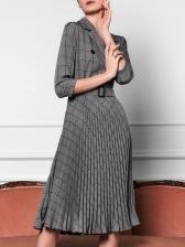 Ol Style Plaid Pleated Women Midi Dress